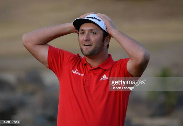 Jon Rahm of Spain reacts to his putt to win on the fourth hole of a sudden death playoff during the final round of the CareerBuilder Challenge at the...