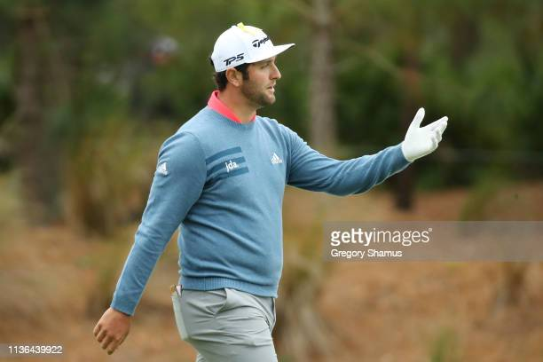 Jon Rahm of Spain reacts to his second shot on the 11th hole which went into the water during the final round of The PLAYERS Championship on The...