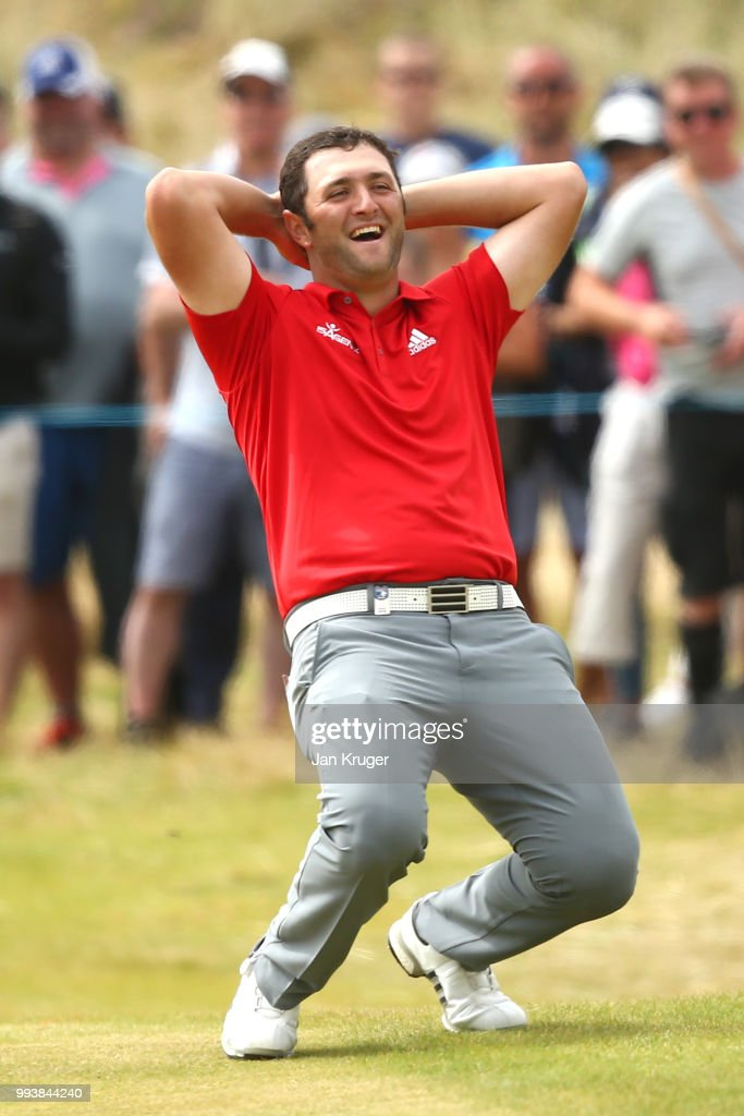Jon Rahm of Spain reacts to nearly chipping in on the 18th hole during the final round of the Dubai Duty Free Irish Open at Ballyliffin Golf Club on July 8, 2018 in Donegal, Ireland.