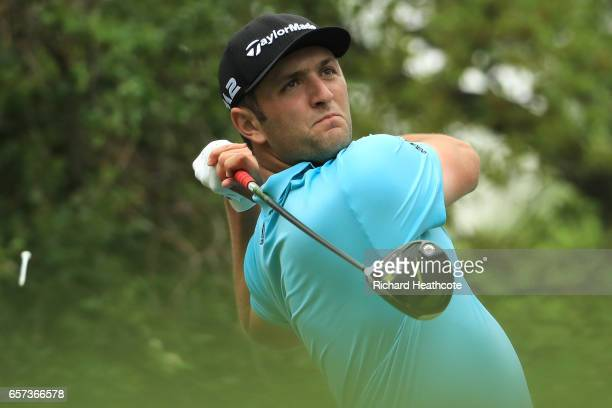 Jon Rahm of Spain tees off on the 12th hole of his match during round three of the World Golf ChampionshipsDell Technologies Match Play at the Austin...