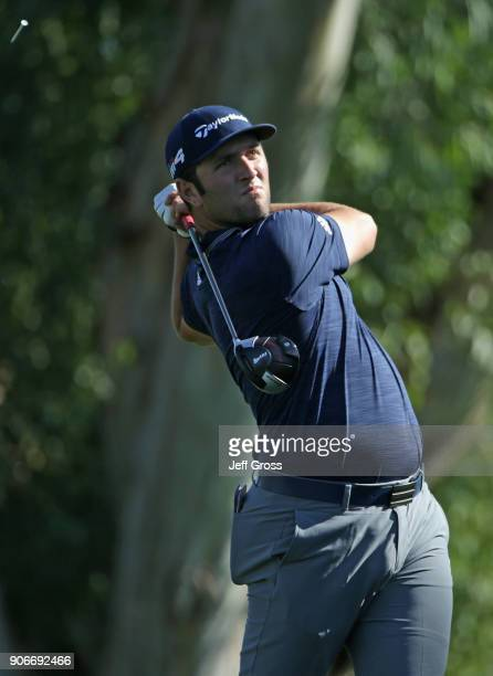Jon Rahm of Spain tees off on the 13th hole during the first round of the CareerBuilder Challenge at La Quinta Country Club on January 18 2018 in La...