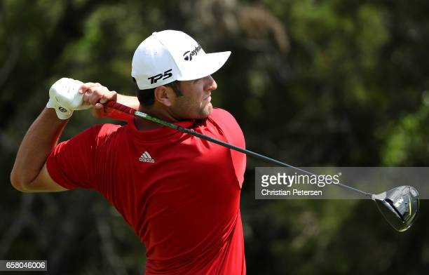 Jon Rahm of Spain tees off on the 2nd hole during the final match of the World Golf Championships-Dell Technologies Match Play at the Austin Country...
