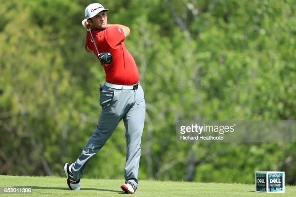 Jon Rahm of Spain tees off on the 3rd hole during the final match of the World Golf ChampionshipsDell Technologies Match Play at the Austin Country...