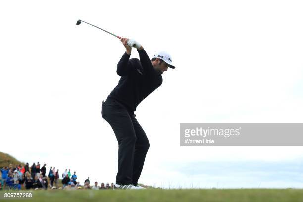 Jon Rahm of Spain tees off on the 8th hole during day one of the Dubai Duty Free Irish Open at Portstewart Golf Club on July 6 2017 in Londonderry...