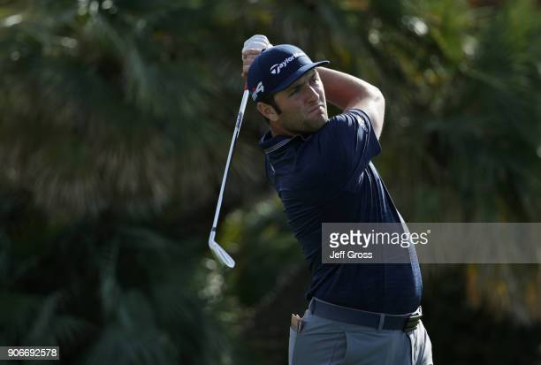Jon Rahm of Spain tees off on the eighth hole during the first round of the CareerBuilder Challenge at La Quinta Country Club on January 18 2018 in...