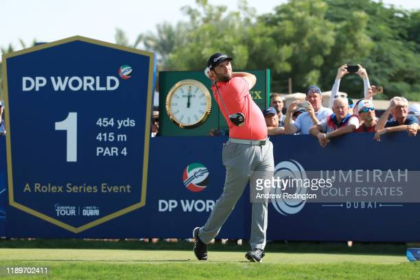 Jon Rahm of Spain tees off on the first during Day Four of the DP World Tour Championship Dubai at Jumerirah Golf Estates on November 24, 2019 in...