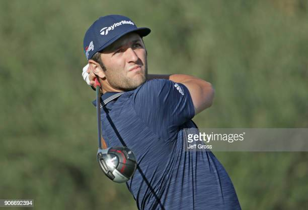 Jon Rahm of Spain tees off on the first hole during the first round of the CareerBuilder Challenge at La Quinta Country Club on January 18 2018 in La...