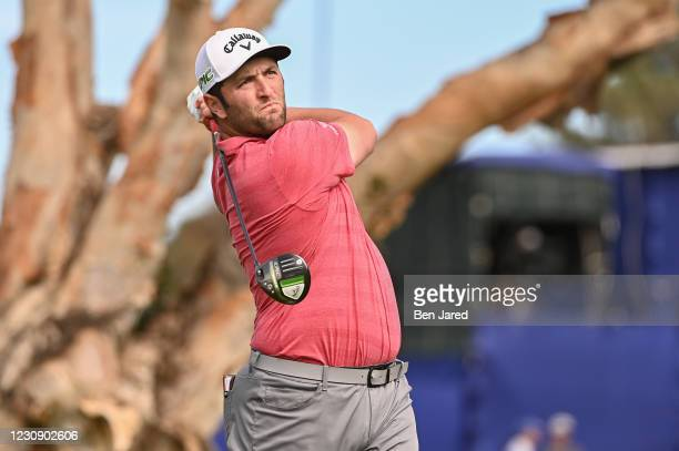 Jon Rahm of Spain tees off on the seventh tee box during the final round of the Farmers Insurance Open at Torrey Pines South on January 31, 2021 in...
