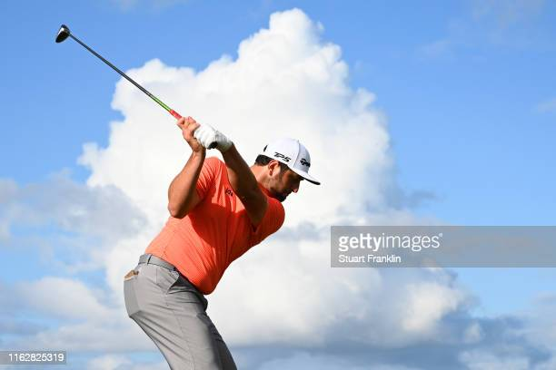 Jon Rahm of Spain tees off the 14th during the first round of the 148th Open Championship held on the Dunluce Links at Royal Portrush Golf Club on...