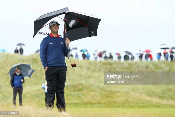Jon Rahm of Spain waits on the 8th hole during the final round of the Dubai Duty Free Irish Open at Portstewart Golf Club on July 9 2017 in...