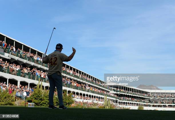 Jon Rahm of Spain watches his tee shot on the 16th hole during the second round of the Waste Management Phoenix Open at TPC Scottsdale on February 2,...
