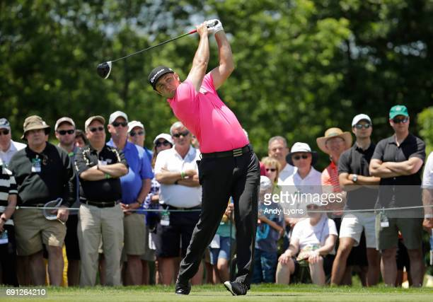 Jon Rahm of Spain watches his tee shot on the first hole during the first round of the Memorial Tournament at Muirfield Village Golf Club on June 1...