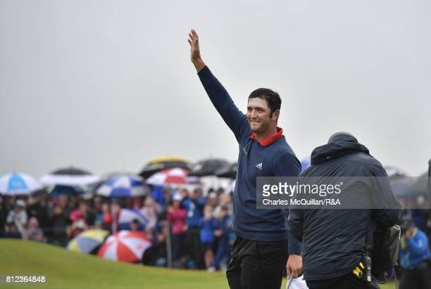 Jon Rahm of Spain waves to the crowd on the 18th green after winning the Dubai Duty Free Irish Open hosted by the Rory Foundation at Portstewart Golf...