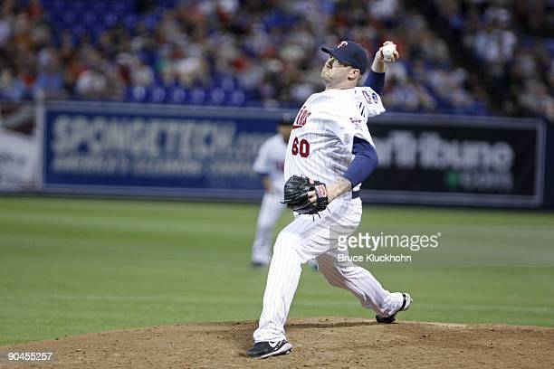 Jon Rauch of the Minnesota Twins pitches to the Chicago White Sox on September 1 2009 at the Metrodome in Minneapolis Minnesota The Twins won 43