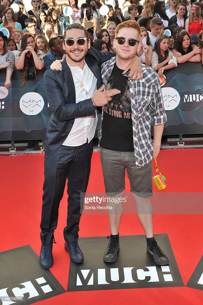 Jon Riera and Landon Ramirez arrive at the 2014 MuchMusic Video Awards at MuchMusic HQ on June 15, 2014 in Toronto, Canada.