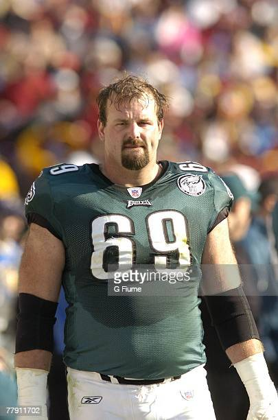 Jon Runyan of the Philadelphia Eagles walks the sidelines during the game against the Washington Redskins November 11, 2007 at FedEx Field in...