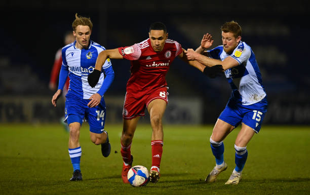 Jon Russell of Accrington Stanley takes on Luke McCormick and Alfie Kilgour of Bristol Rovers during the Sky Bet League One match between Bristol...