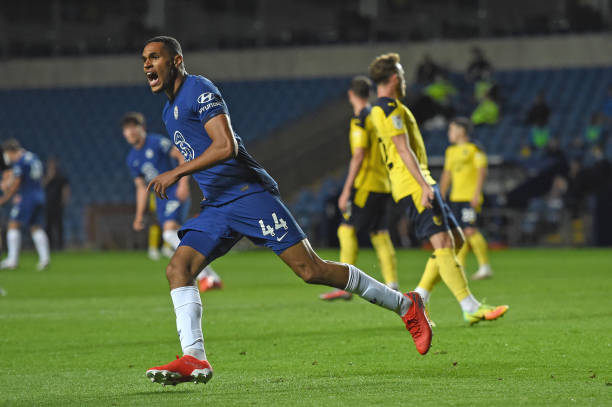 Jon Russell of Chelsea celebrates scoring his goal during the EFL Trophy match between Oxford United FC and Chelsea U23 at The Kassam Stadium on...