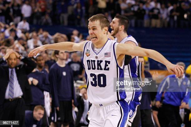 Jon Scheyer of the Duke Blue Devils celebrates after they won 6159 against the Butler Bulldogs during the 2010 NCAA Division I Men's Basketball...