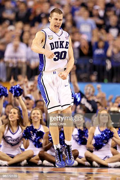 Jon Scheyer of the Duke Blue Devils reacts in the second half while taking on the Butler Bulldogs during the 2010 NCAA Division I Men's Basketball...