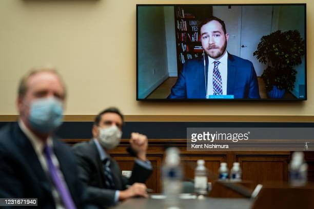 Jon Schleuss, President of the NewsGuild CWA testifies via tele-conference at a House Judiciary Subcommittee on Antitrust, Commercial, and...