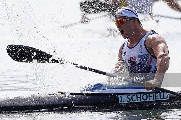 Jon Schofield of Great Britain partner of Liam Heath celebrates after winning silver in the Men's Kayak Double 200m Final at the Lagoa Stadium on Day...