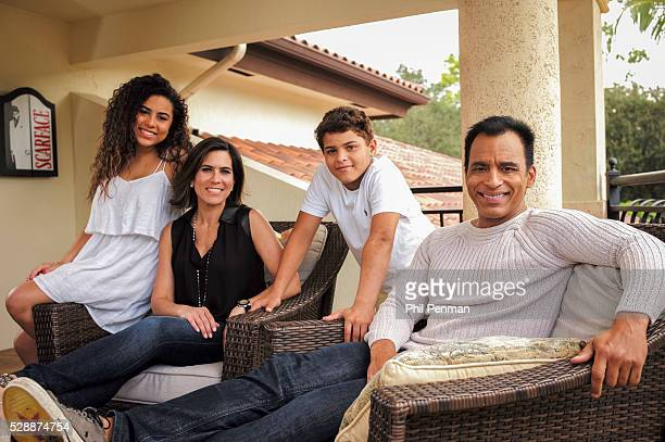 Jon Secada at home with wife Mikaela and children Maritere and Jon Henri in Miami Florida
