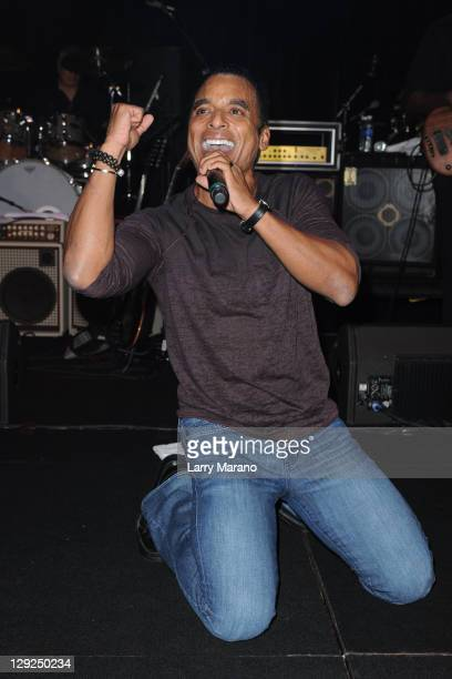 Jon Secada performs with Miami Sound Machine at Footy's Bubbles And Bones Gala to benefit Here's Help at Westin Diplomat on October 14 2011 in...