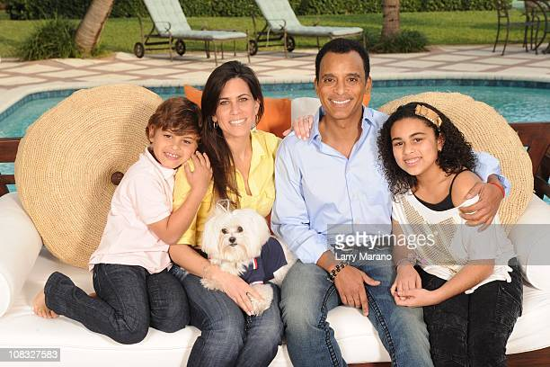 Jon Secada poses with his Wife Maritere and their children Mikaela Nina and Jon Henri for an exclusive at home photo shoot on January 13 2011 in...