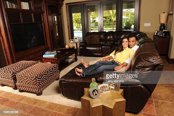 Jon Secada poses with his wife Maritere for an exclusive at home photo shoot on January 13 2011 in Coral Gables Florida