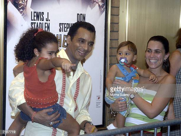 Jon Secada with his wfie Maritere and their kids attend the 5th Annual Broadway Barks July 12 2003 at Shubert Alley in New York City Broadway Barks...