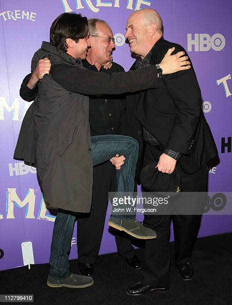 """Jon Seda, Eric Overmyer and David Simon attends the """"Treme"""" New York Premiere at The Museum of Modern Art on April 21, 2011 in New York City."""