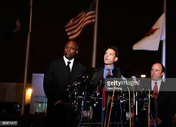 Jon Sheldon attorney for DC sniper John Allen Muhammad makes a statement to the media after Muhammad was pronounced dead outside the Greensville...