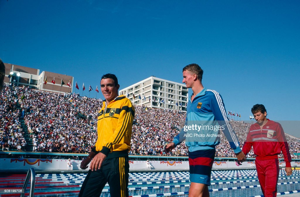 Men's Swimming 200 Metre Butterfly Competition At The 1984 Summer Olympics : News Photo