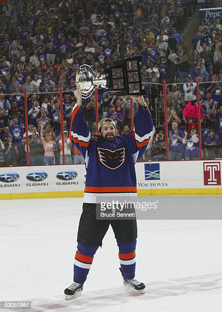 Jon Sim of the Philadelphia Phantoms with the Calder Cup after the Phantoms defeated the Chicago Wolves 5-2 to sweep the series at the Wachovia...