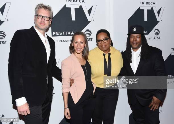 Jon Sinclair Keayr Braxton Oprah Winfrey and Shaka Senghor attend the Tribeca TV Festival series premiere of Released at Cinepolis Chelsea on...