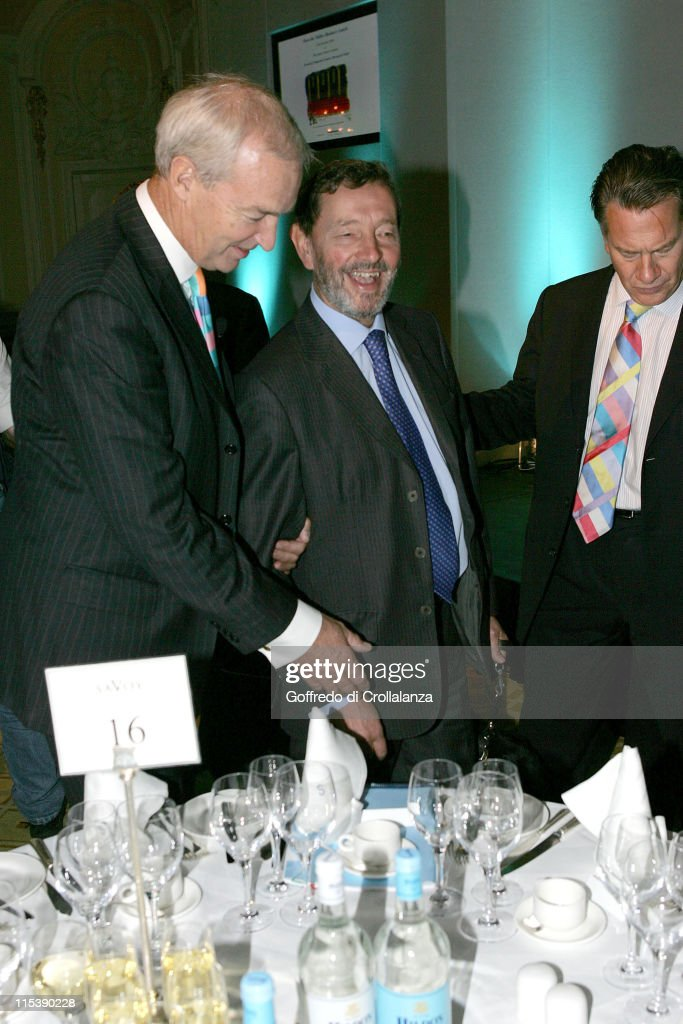 Jon Snow, David Blunkett and Michael Portillo during Turn the Tables Charity Lunch - October 17, 2005 at The Savoy in London, Great Britain.