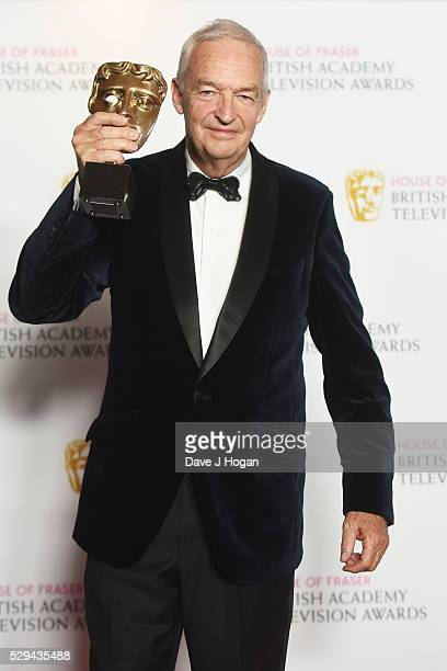 Jon Snow holds the award for News Coverage during the House Of Fraser British Academy Television Awards 2016 at the Royal Festival Hall on May 8 2016...