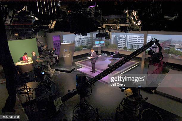 Jon Sopel and Moira Stuart on the set of BBC news and current affairs programme The Politics Show Production shot studio cameras technical equipment...