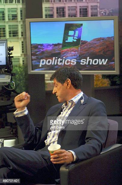 Jon Sopel gestures makes a fist on the set of BBC news and current affairs programme The Politics Show