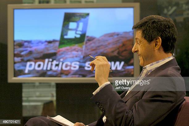 Jon Sopel laughs laughing on the set of BBC news and current affairs programme The Politics Show