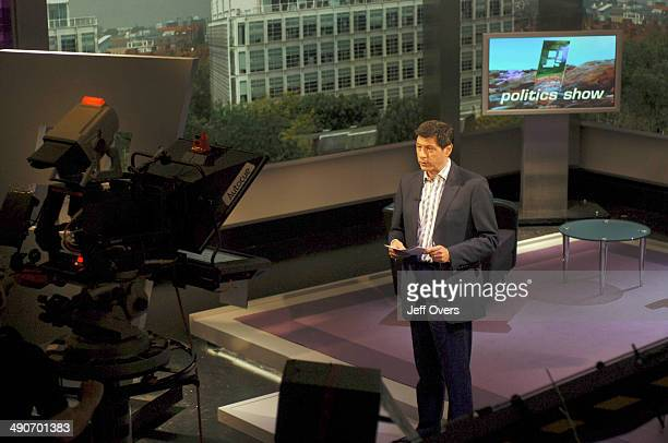 Jon Sopel on the set of BBC news and current affairs programme The Politics Show Production shot Camera and studio visible