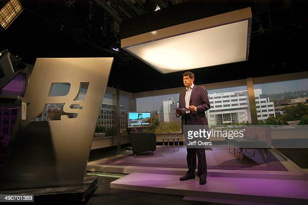 Jon Sopel on the set of BBC news and current affairs programme The Politics Show Production shot showing an expanded view of the studio