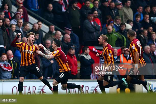 Jon Stead Billy Knott Gary Liddle and James Meredith of Bradford celebrate after John O'Shea of Sunderland scored an own goal during the FA Cup Fifth...