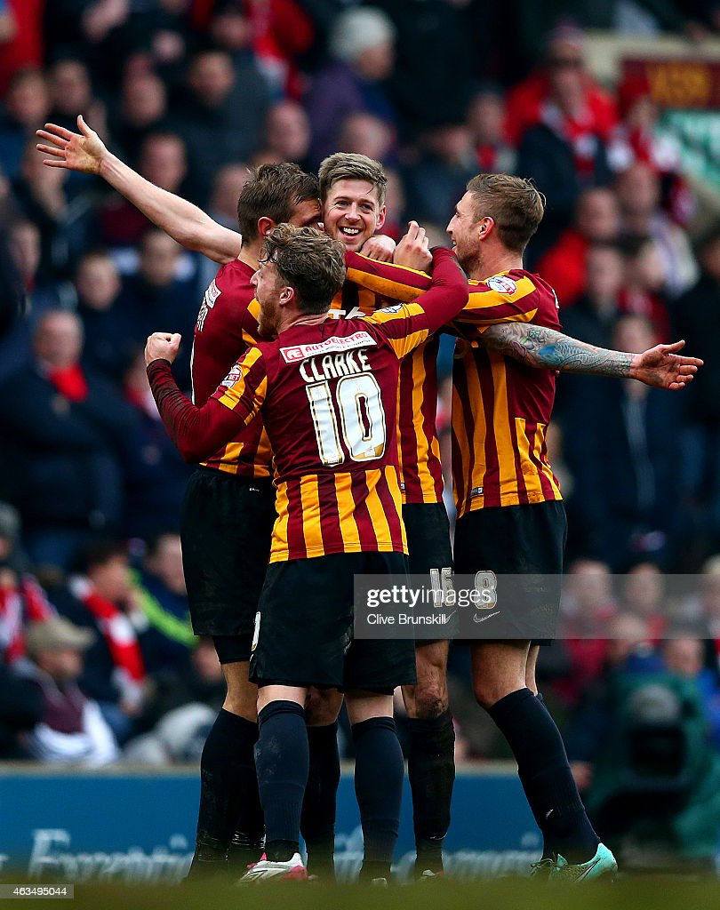 Jon Stead of Bradford celebrates with team-mates after scoring their second goal during the FA Cup Fifth Round match between Bradford City and Sunderland at Coral Windows Stadium, Valley Parade on February 15, 2015 in Bradford, England.
