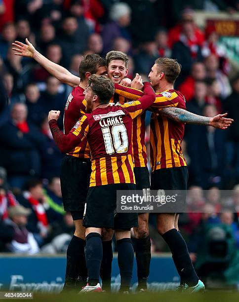 Jon Stead of Bradford celebrates with teammates after scoring their second goal during the FA Cup Fifth Round match between Bradford City and...