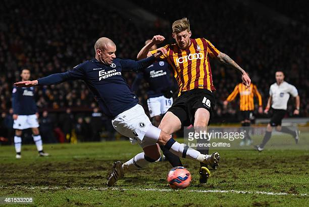 Jon Stead of Bradford scores the second goal during the FA Cup Third Round Replay between Bradford City and Millwall at Coral Windows Stadium Valley...