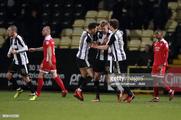 Jon Stead of Notts County celebrates after scoring a goal to make it 11 during the Sky Bet League Two match between Notts County and Crawley Town at...