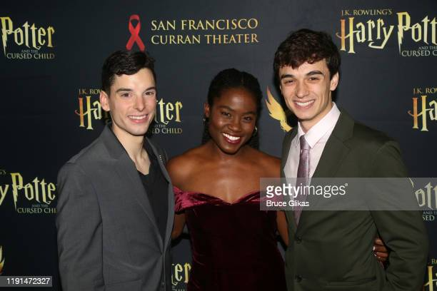 Jon Steiger Folami Williams and Benjamin Papac pose at the opening night after party for Harry Potter and The Cursed Child Parts One 2 at August Hall...
