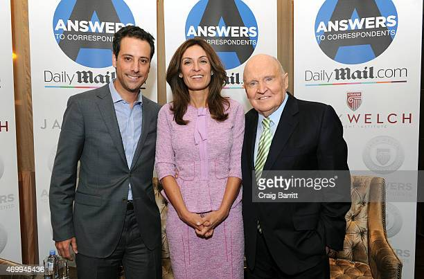 Jon Steinberg Suzy Welch and Jack Welch attend the DailyMailcom Answers To Correspondents with Jack Suzy Welch on April 15 2015 in New York City